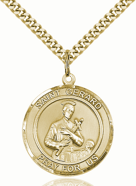 St Gerard Majella 14kt Gold-filled Round Patron Saint Medal Necklace by Bliss