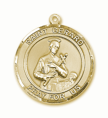 St Gerard Majella 14kt Gold Round Patron Saint Medal Necklace by Bliss