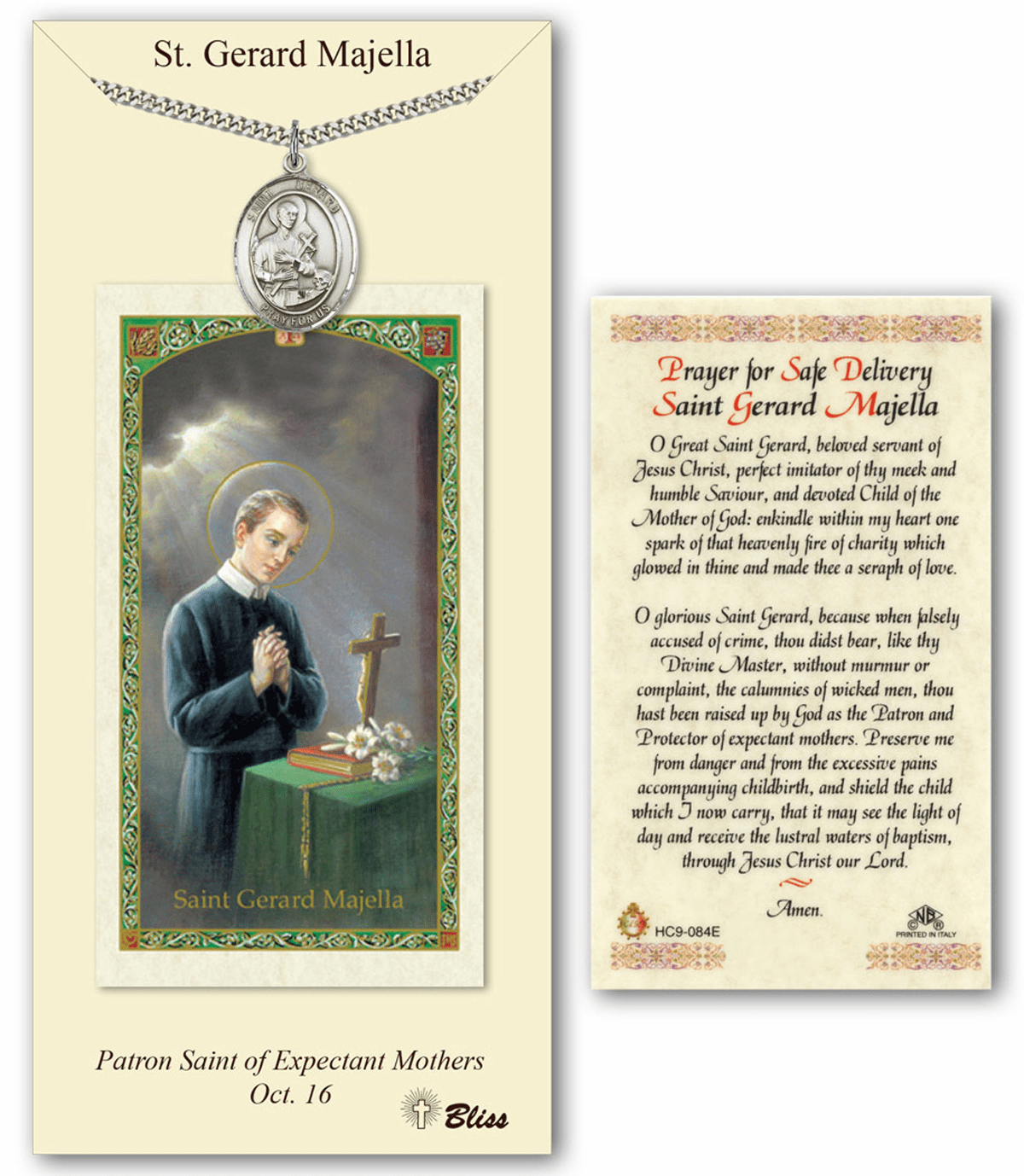 Bliss Mfg St Gerard Majella Prayer Card & Pendant Gift Set