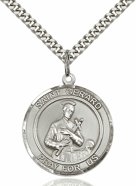 St Gerard Majella Silver-filled Round Patron Saint Medal Necklace by Bliss