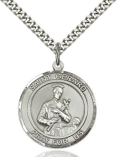 St Gerard Round Patron Saint Medal Necklace by Bliss