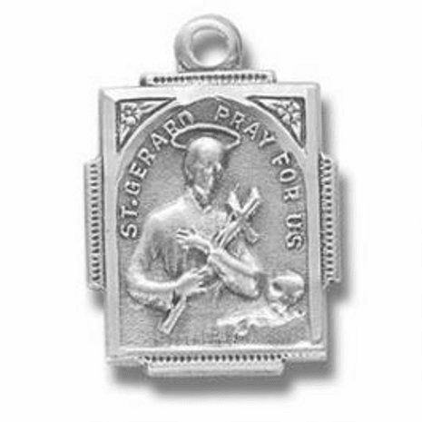 St Gerard Steling Silver Medal Necklace by HMH Religious