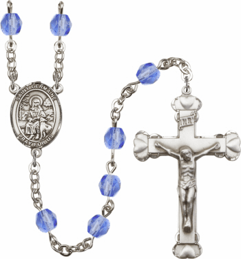 St Germaine Cousin Patron Saint Birthstone Fire Polished Crystal Prayer Rosary