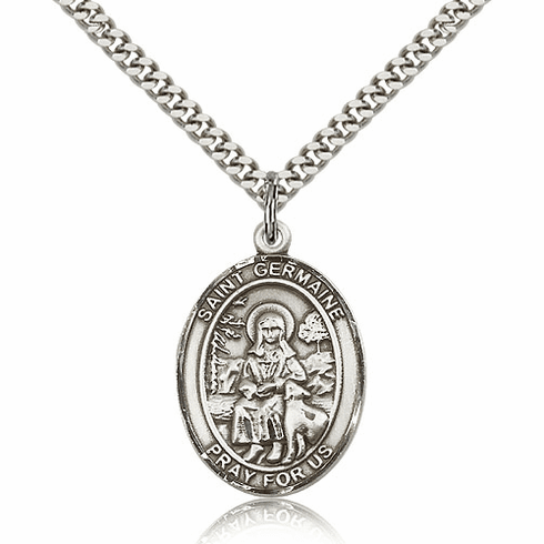 St Germaine Cousin Sterling Silver Parton Saint Medal Necklace by Bliss