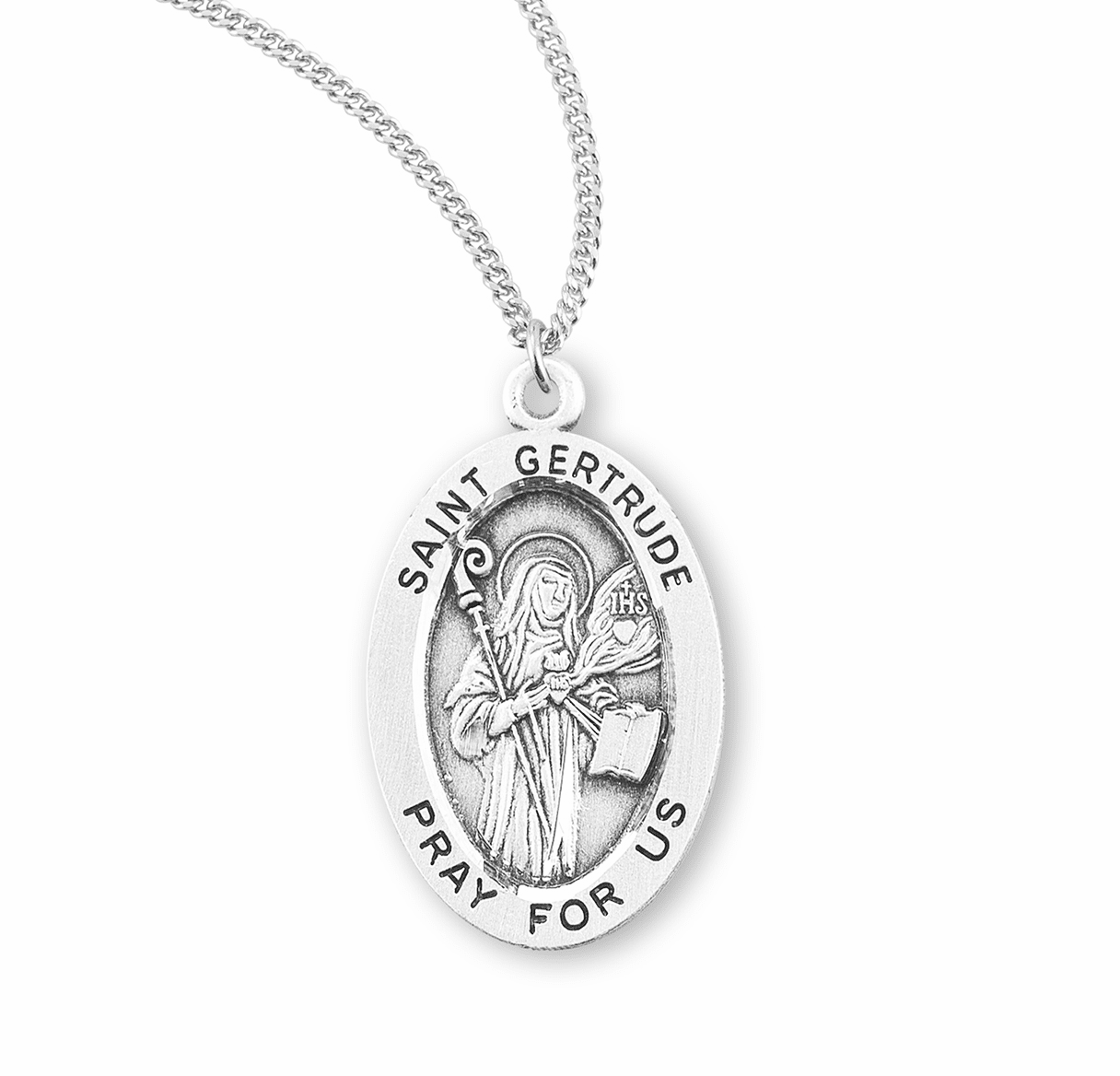 HMH Religious St Gertrude Catholic Saint Sterling Silver Medal Necklace