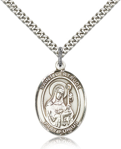 14kt Gold Filled St Gold Plate Heavy Curb Chain Patron Saint Accommodations//Cats 1 x 3//4 Gertrude of Nivelles Pendant