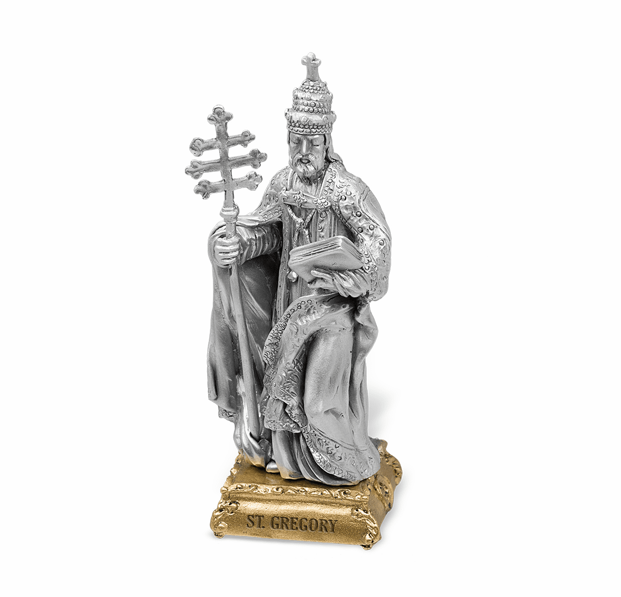 St Gregory Patron Saint Pewter Statue on Gold Tone Base by Hirten