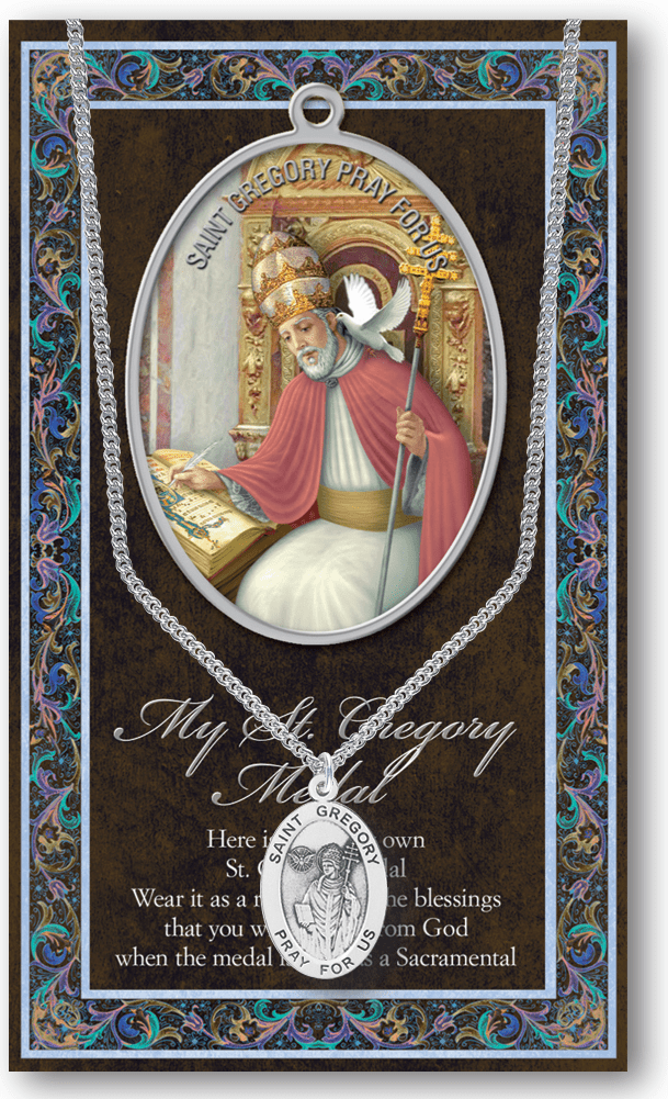 St Gregory the Great Pewter Patron Saint Medal Necklace with Prayer Pamphlet by Hirten