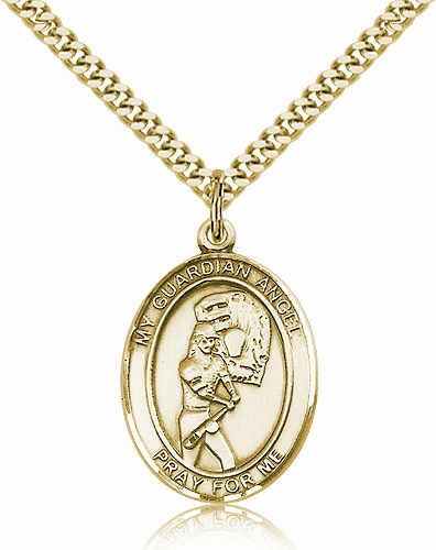 St Guardian Angel Softball Player 14kt Gold-Filled Pendant Necklace by Bliss