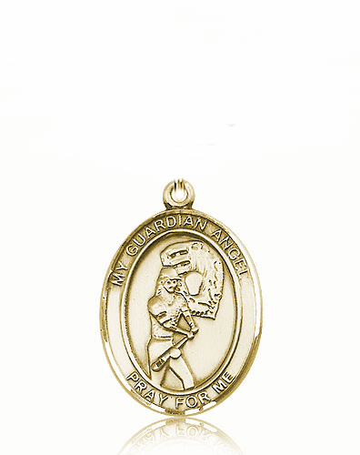 St Guardian Angel Softball Player 14kt Gold Sports Medal Pendant by Bliss