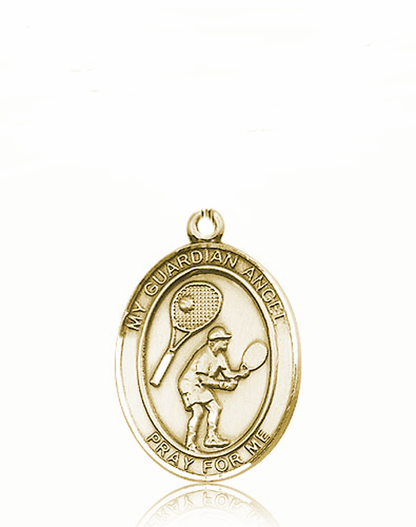 St Guardian Angel Tennis 14kt Gold Sports Medal Pendant by Bliss