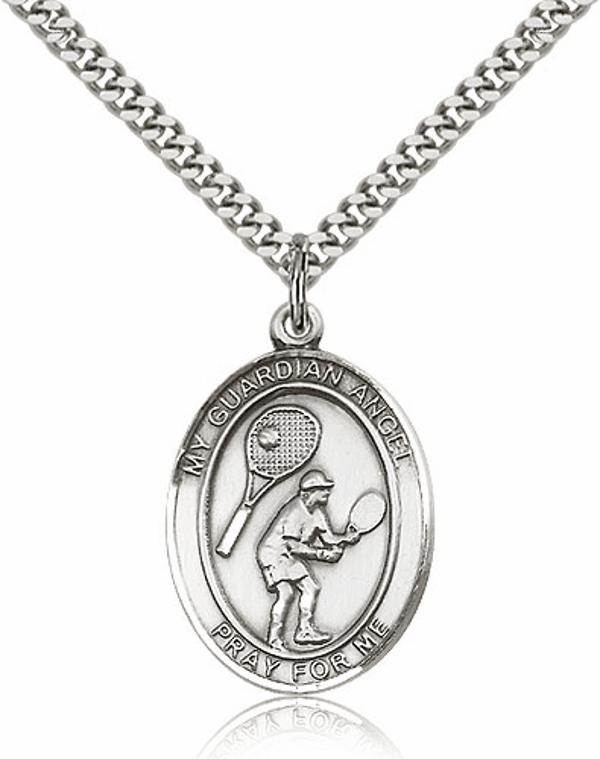 St Guardian Angel Tennis Pewter Patron Saint Necklace by Bliss