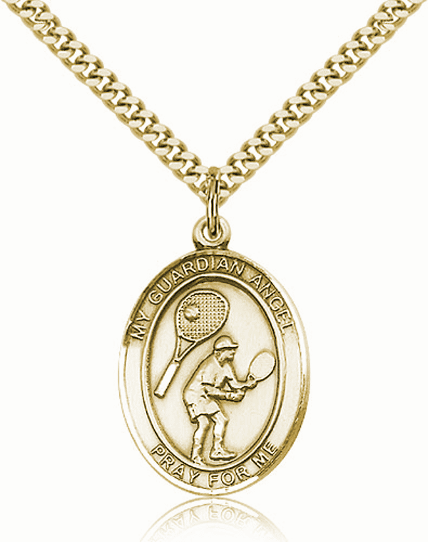 St Guardian Angel Tennis Sports 14kt Gold-Filled Pendant Necklace by Bliss