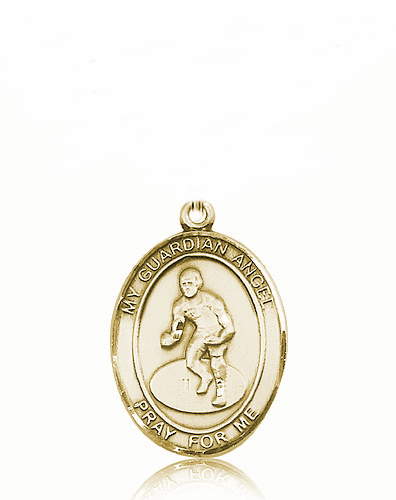 St Guardian Angel Wrestling 14kt Gold Sports Medal Pendant by Bliss