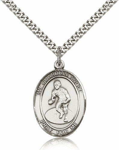 St Guardian Angel Wrestling Pewter Patron Saint Necklace by Bliss