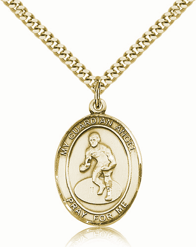 St Guardian Angel Wrestling Sports 14kt Gold-Filled Pendant Necklace by Bliss