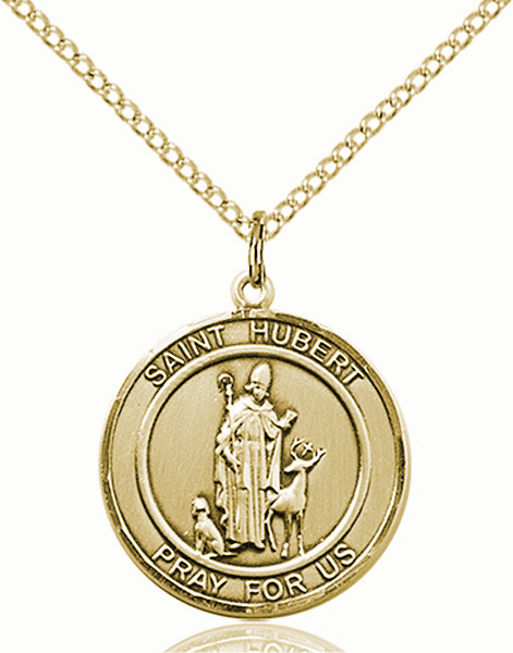 St Hubert Medium Patron Saint 14kt Gold-filled Medal by Bliss