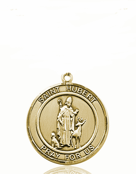 St Hubert Medium Patron Saint 14kt Gold Medal by Bliss