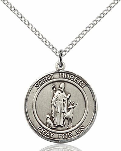St Hubert Medium Patron Saint Sterling Silver Medal by Bliss