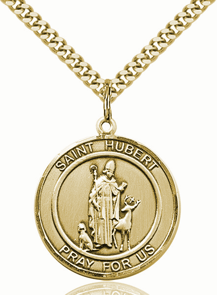 St Hubert of Liege 14kt Gold-filled Round Patron Saint Medal Necklace by Bliss