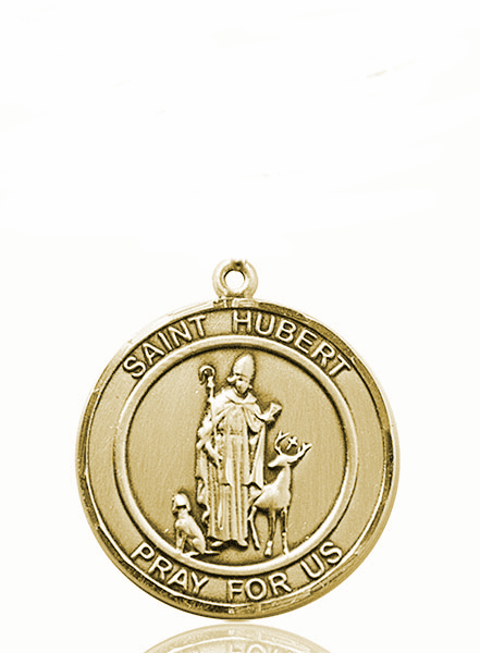 St Hubert of Liege 14kt Gold Round Patron Saint Medal Necklace by Bliss