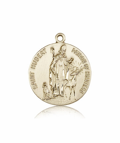 St Hubert of Liege Patron Saint of Hunters 14kt Gold Necklace by Bliss