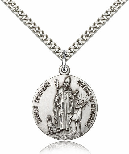St Hubert of Liege Patron Saint of Hunters Pewter Necklace by Bliss