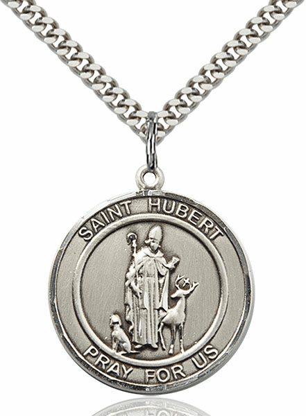 St Hubert of Liege Silver-filled Round Patron Saint Medal Necklace by Bliss