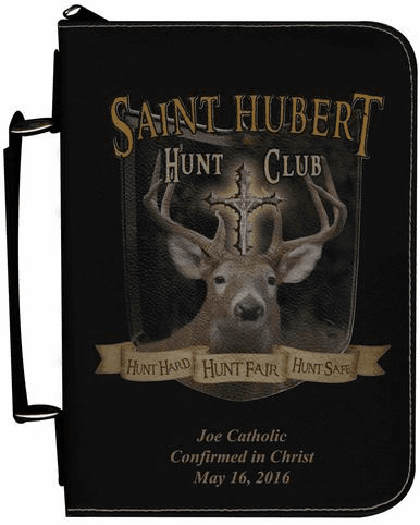 St Hubert Personalized Black Catholic Bible Cover Case