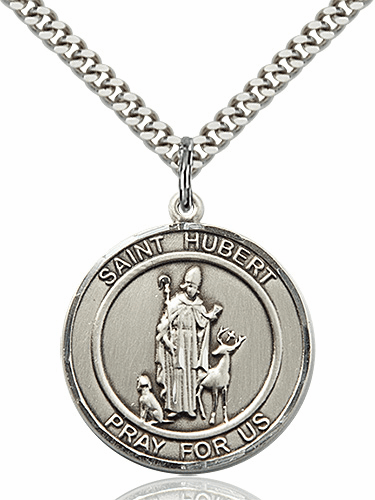 St Hubert Round Patron Saint Medal Necklace by Bliss