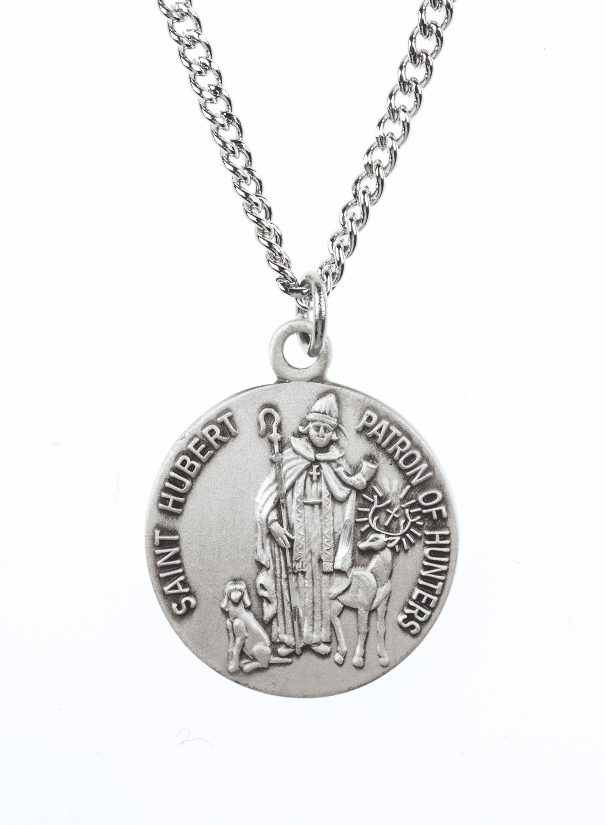 "St Hubert Saint Medal Pendant w/18"" Chain by Jeweled Cross"