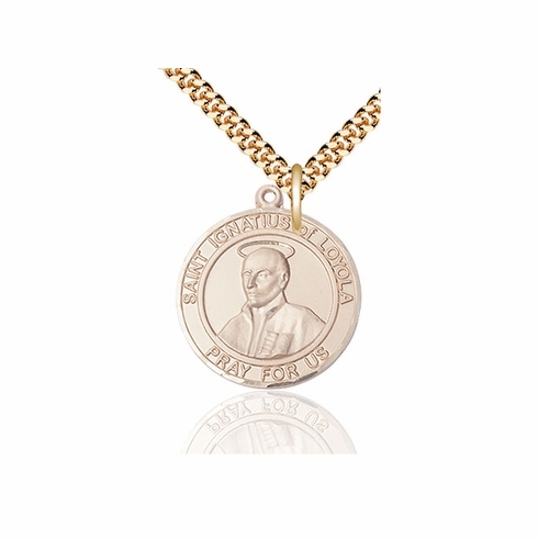 St Ignatius of Loyola Large Patron Saint 14kt Gold-filled Medal by Bliss
