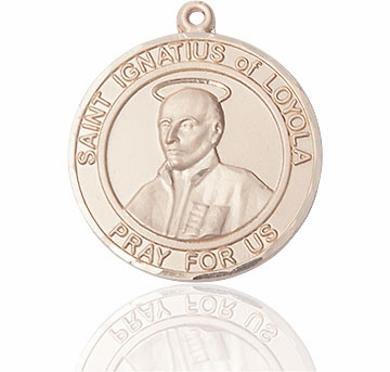 St Ignatius of Loyola Large Patron Saint 14kt Gold Medal by Bliss