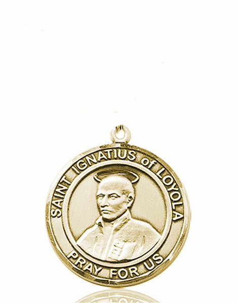 St Ignatius of Loyola Medium Patron Saint 14kt Gold Medal by Bliss