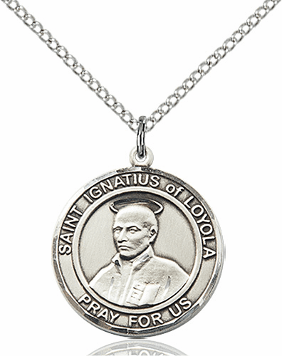 St Ignatius of Loyola Medium Patron Saint Silver-filled Medal by Bliss