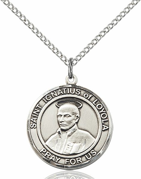 St Ignatius of Loyola Medium Patron Saint Sterling Silver Medal by Bliss
