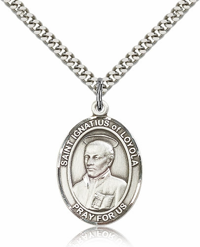 St Ignatius of Loyola Pewter Medal Necklace by Bliss Manufacturing