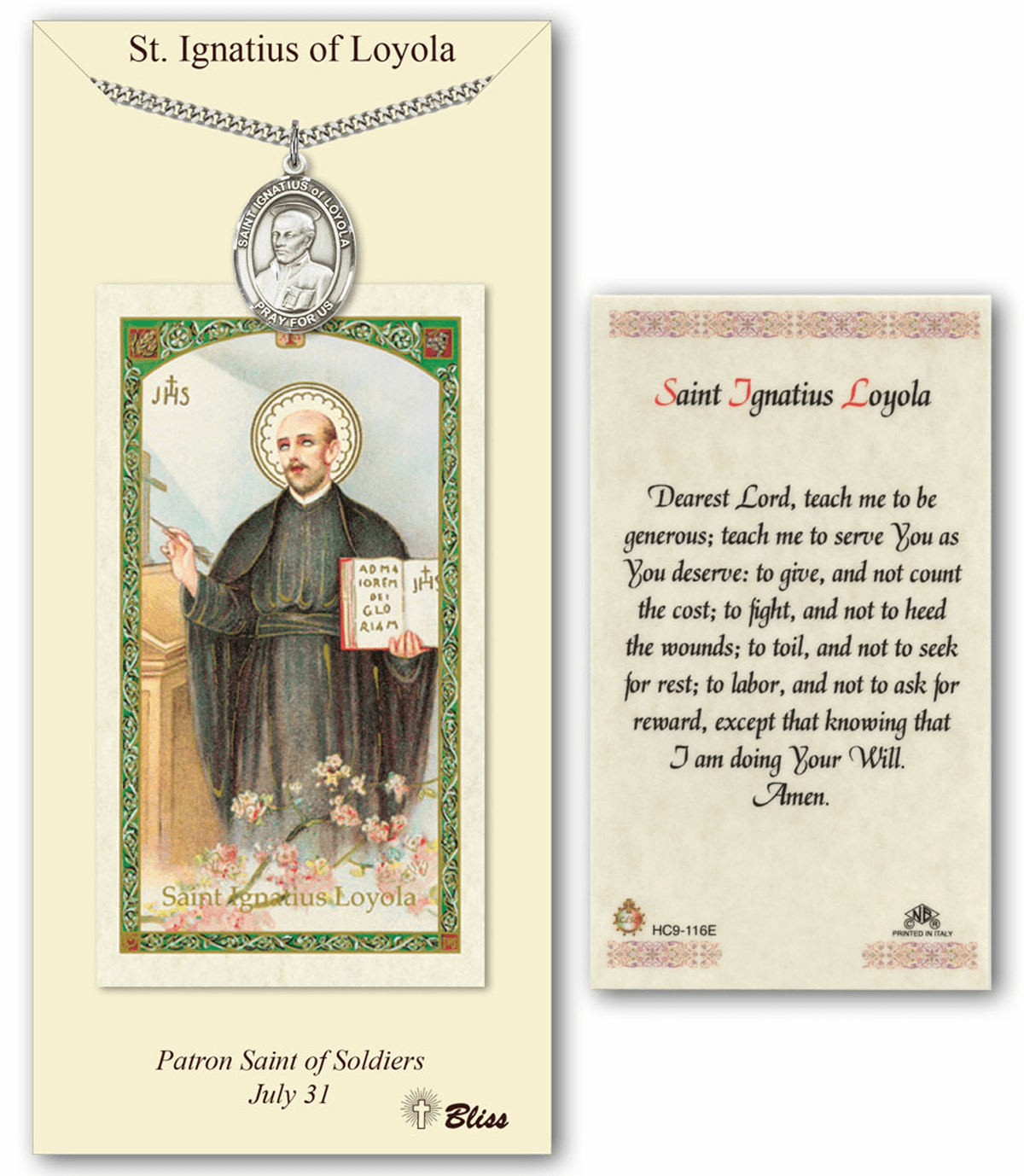 Bliss Mfg St Ignatius of Loyola Prayer Card & Pendant Gift Set