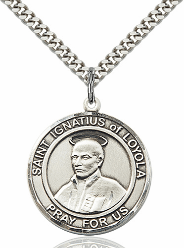 St Ignatius of Loyola Round Patron Saint Medal Necklace by Bliss