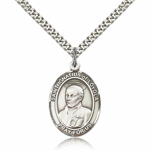 St Ignatius of Loyola Silver-filled Necklace w/Chain by Bliss