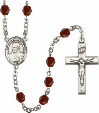 St Ignatius of Loyola Silver Plate Birthstone Crystal Prayer Rosary by Bliss