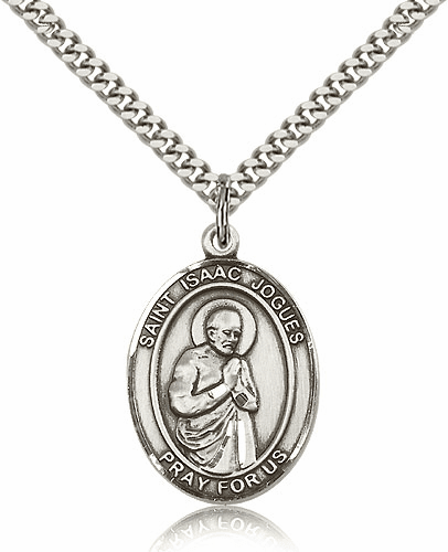 Bliss St. Isaac Jogues Sterling Silver Patron Saint Medal Necklace
