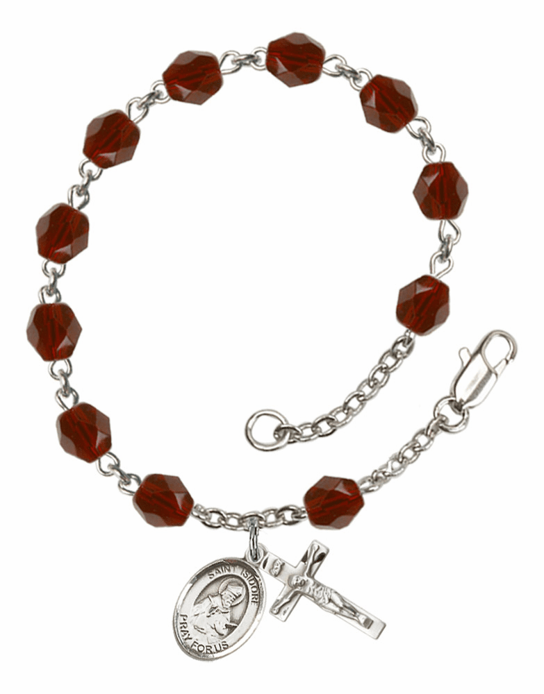 St Isidore of Seville Silver Plate Birthstone Rosary Bracelet by Bliss