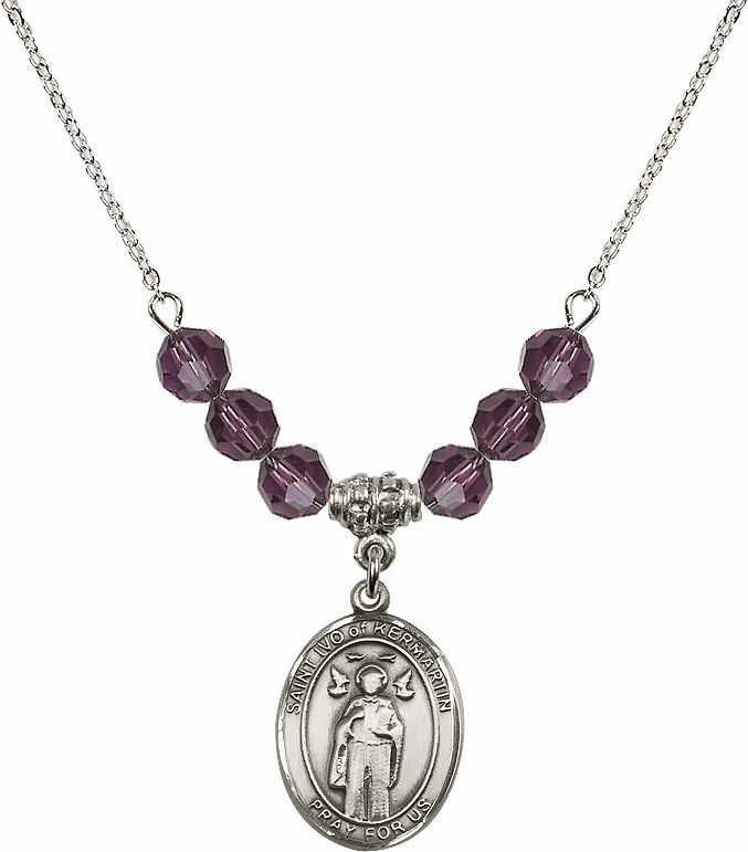 St Ivo of Kermartin Sterling February Amethyst Swarovski Crystal Beaded Necklace by Bliss Mfg