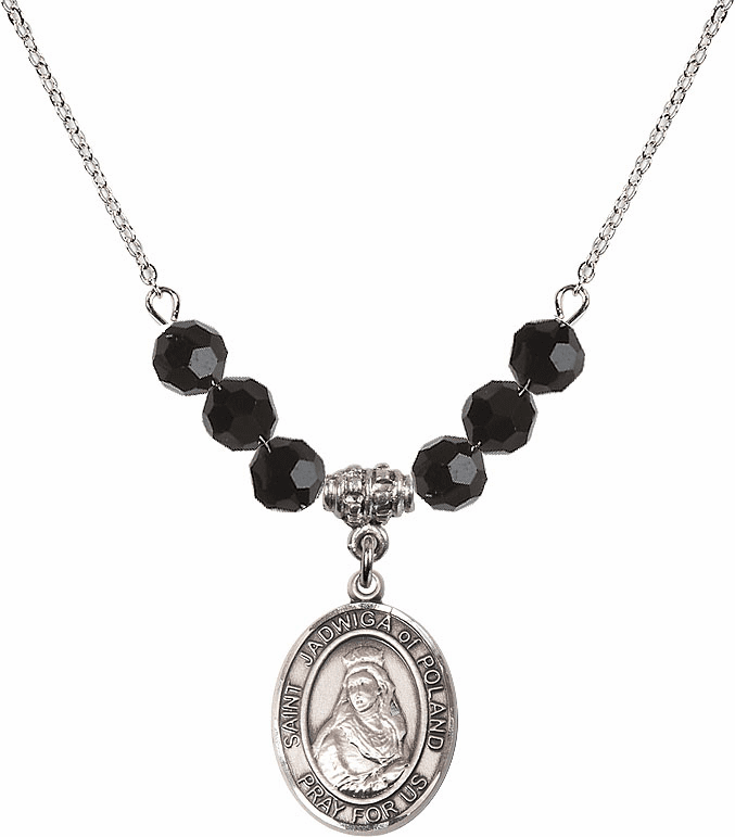 St Jadwiga of Poland Jet Black Swarovski Necklace by Bliss Mfg