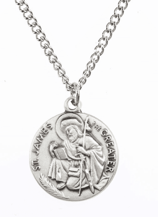 "St James Saint Medal Pendant w/18"" Chain by Jeweled Cross"