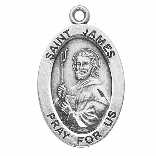St James Sterling Silver Saint Medal Necklace by HMH Religious