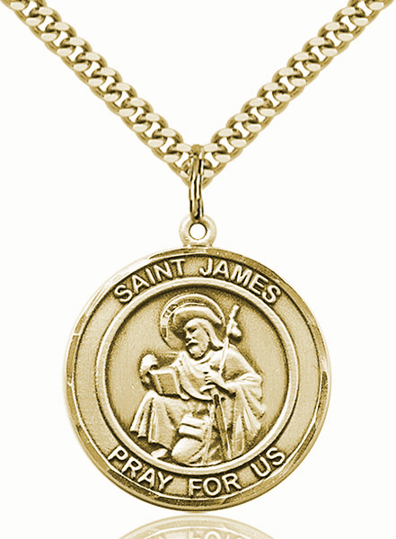 St James the Greater 14kt Gold-filled Round Patron Saint Medal Necklace by Bliss