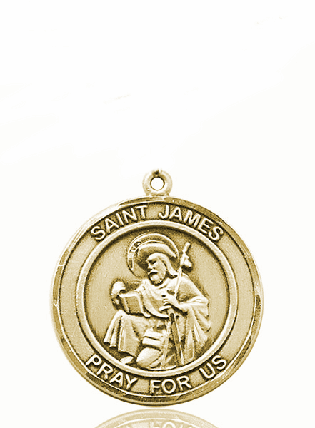 St James the Greater 14kt Gold Round Patron Saint Medal Necklace by Bliss
