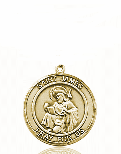 St James the Greater Medium Patron Saint 14kt Gold Medal by Bliss